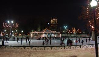 ice skating on frog pond photo