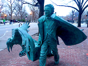 edgar allen poe statue - boston common photo