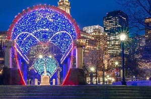 tunnel of love lights at christopher columbus park photo