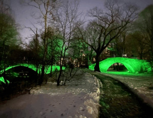 lighted bridges along the emerald necklace - green led photo